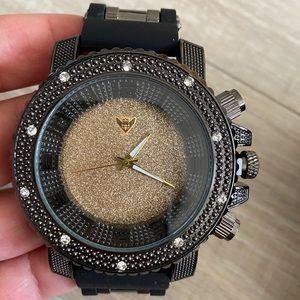 Men's black gold bling big face classic watch